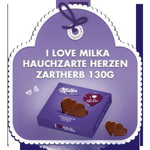 I love Milka Hauchzarte Herzen Zartherb