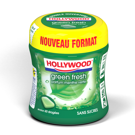 Chewing-gum - Hollywood Green Fresh parfum menthe verte Alt Mondelez Pro