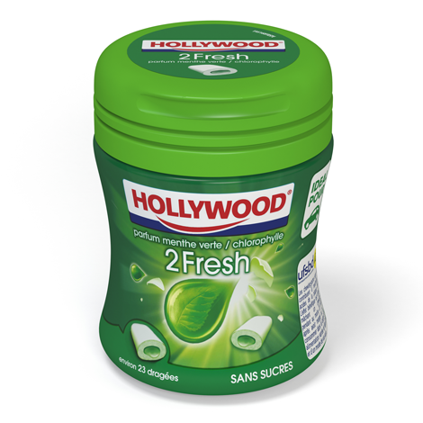 Chewing-gum - Hollywood 2 Fresh sans sucres parfum menthe verte chlorophylle Alt Mondelez Pro