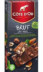 Chocolat Côte d'or BRUT Lait Noisettes & Amandes caramélisées et salées