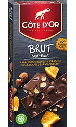 Chocolat Côte d'or BRUT Noir Orange et Amandes