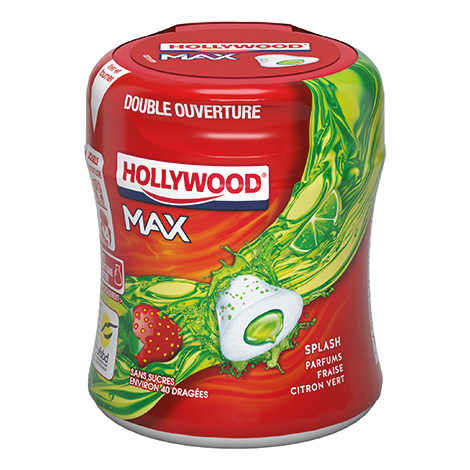Chewing-gum - Hollywood Max Bottle Fraise et Citron 6x88g 6CA Alt Mondelez Pro