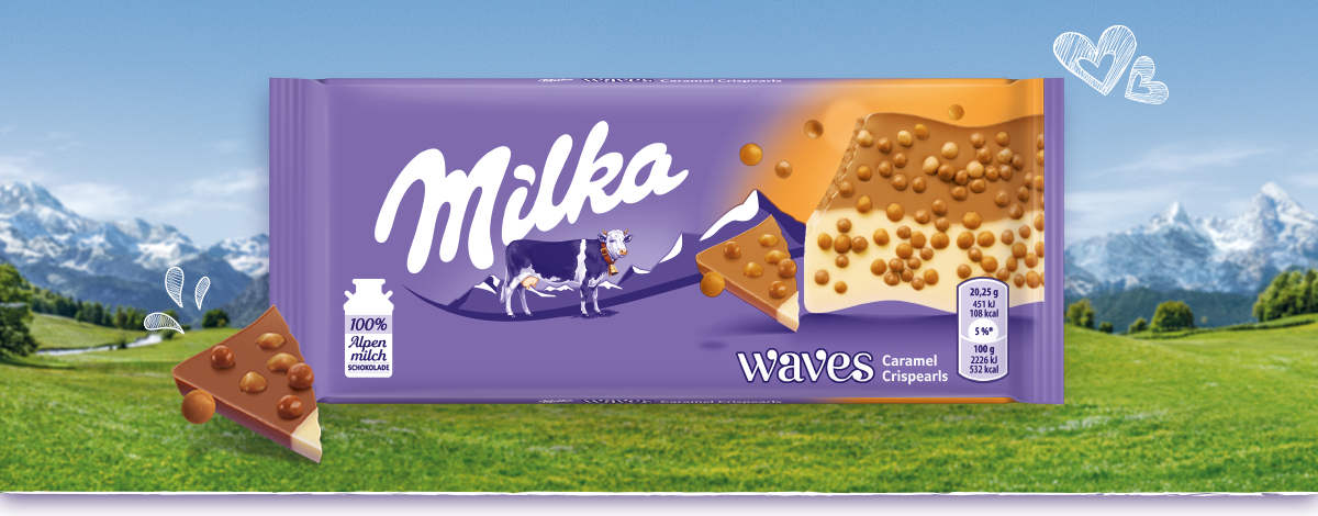 Milka Waves mit Karamellperlen
