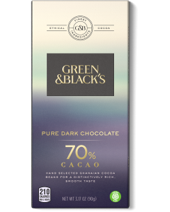 Pure Dark Chocolate Bar, 70% Cacao
