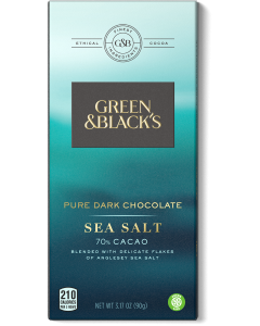 Pure Dark Chocolate Sea Salt Bar, 70% Cacao