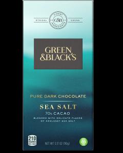 Pure Dark Chocolate Sea Salt Bar, 70% Cacao