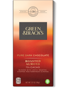 Pure Dark Chocolate Roasted Almonds Bar, 70% Cacao