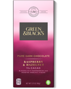 Pure Dark Chocolate Raspberry and Hazelnut Bar, 70% Cacao