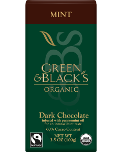 Organic Mint Dark Chocolate Bar, 60% Cacao
