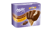 Milka Chocolate - Vanilla & Chocolate - Vanilla and Rice Crispies Mini Stieleis