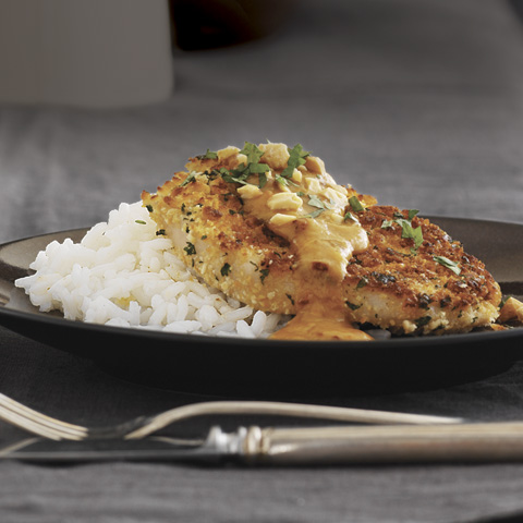 Cilantro-Crusted Pork Chops with Chipotle-Peanut Sauce Recipe