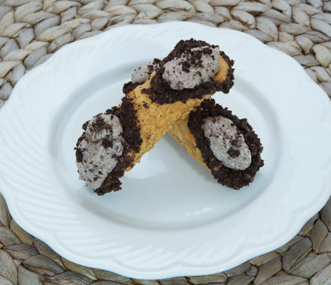 Cookies 'N' Cream Cannoli with OREO Cookie Pieces Recipe