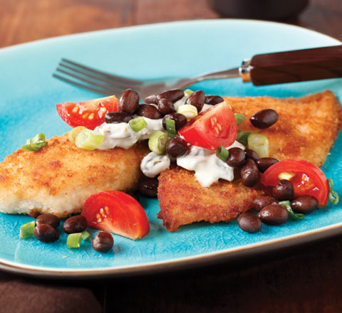 Breaded Tilapia with Black Bean Salsa Recipe