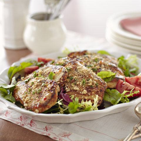 Chicken & Mixed Greens Salad with Milanese Crumbs Recipe