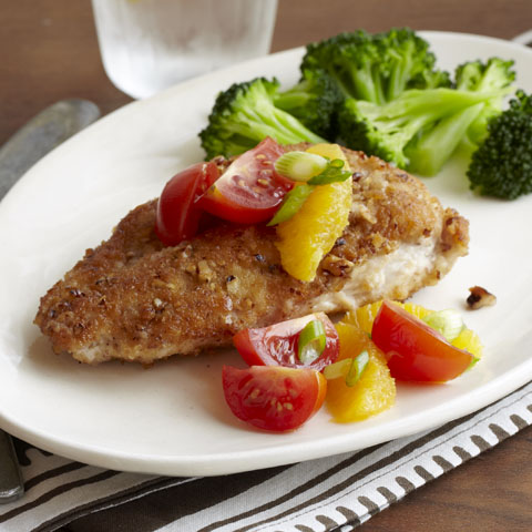 Pecan-Crusted Chicken with Citrus-Tomato Topping Recipe
