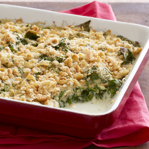 RITZ-Topped Saucy Spinach Bake