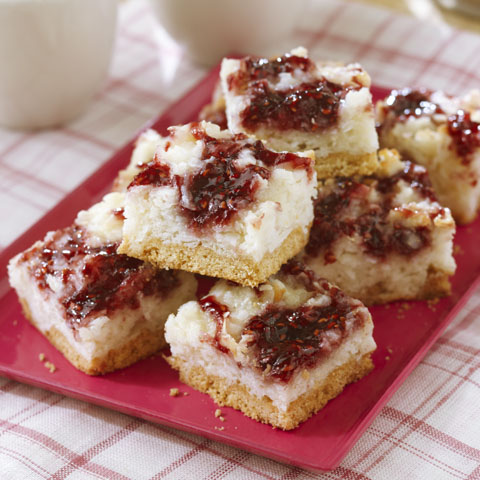 Raspberry-Kissed Coconut Bars Recipe