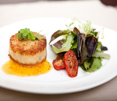 Scallop & Lobster-Cream Cheese Risotto Cake made with RITZ Crackers Recipe