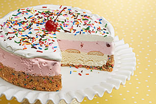 "Vanilla & Strawberry Ice Cream ""Cake"" Recipe"