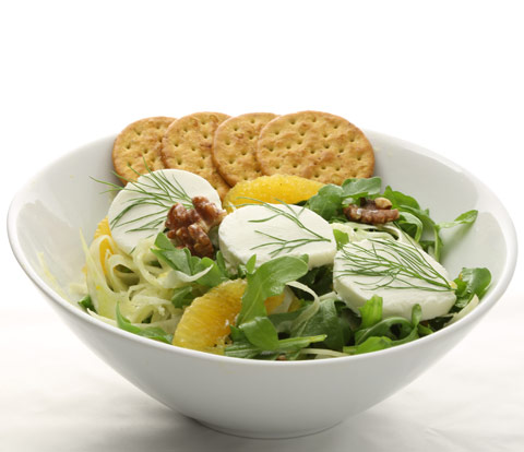 Shaved Fennel & Arugula Salad with Goat Cheese and NABISCO Entertainment Wheat Crackers Recipe