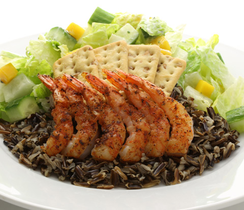 Chopped Salad with Wild Rice, Blackened Shrimp and PREMIUM Saltine Whole Grain Crackers Recipe