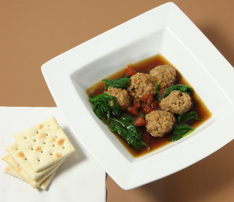 Spinach & Meatballs Soup with PREMIUM Saltine Crackers Recipe