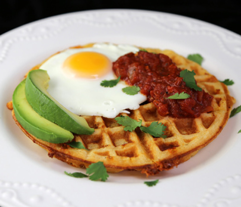 Cheddar-Chipotle Waffles with RITZ Crackers & Fried Eggs Rancheros