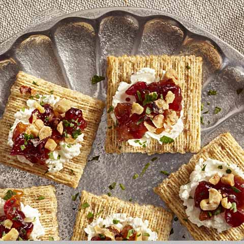 Goat Cheese, Apple-Cranberry Chutney & Walnut Toppers Recipe
