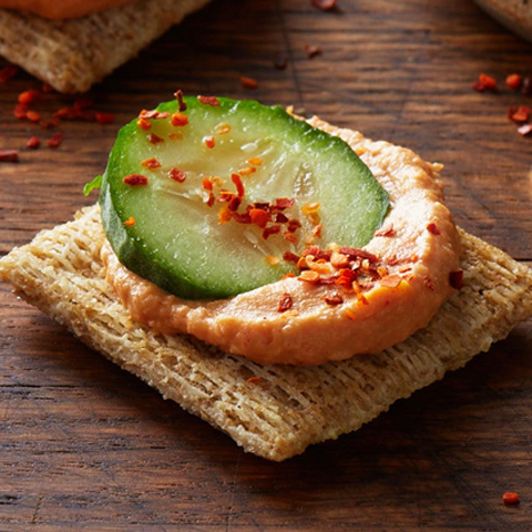 Spicy Cucumber-Hummus TRISCUIT Bites Recipe