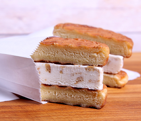 Donut Ice Cream Panini Sandwich made with NUTTER BUTTER Cookies