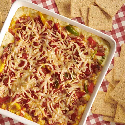 Deep-Dish Sausage & Peppers Pizza Dip Recipe