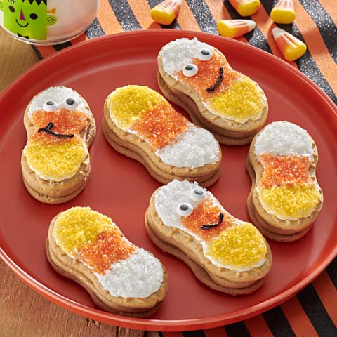 NUTTER BUTTER Funny Face Candy Corn Cookies Recipe