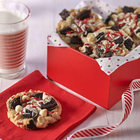 White Chocolate Chip Cookies with Peppermint Bark OREO Recipe