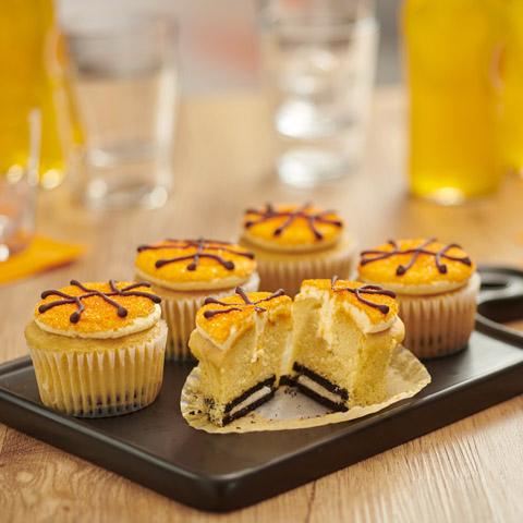 OREO-Boston Cream Basketball Cupcakes Recipe