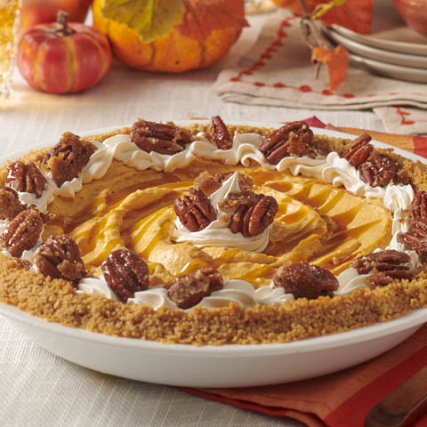 No-Bake HONEY MAID Pumpkin Cheesecake with Glazed Pecans Recipe