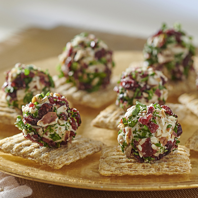 "TRISCUIT Cranberry-Pecan Herb Cheese ""Truffle"" Bites Recipe"
