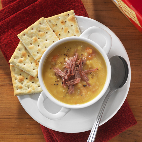 Smoky Split Pea Soup with PREMIUM PLUS Crackers Recipe