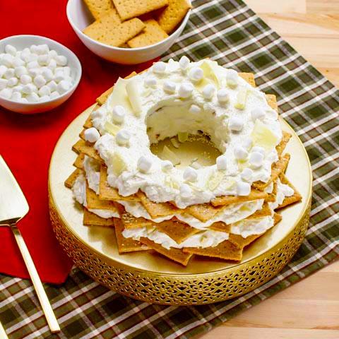 White Chocolate S'mores Icebox Wreath Cake Recipe