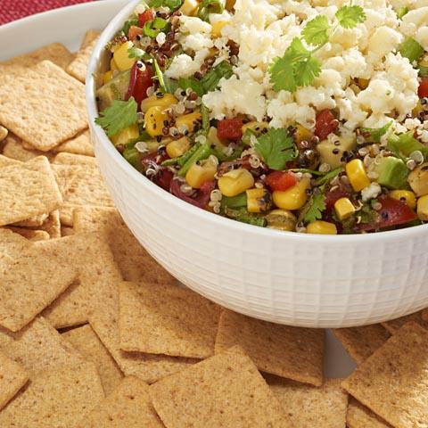 Trempette de maïs et de quinoa avec craquelins FINS AU BLÉ Recipe