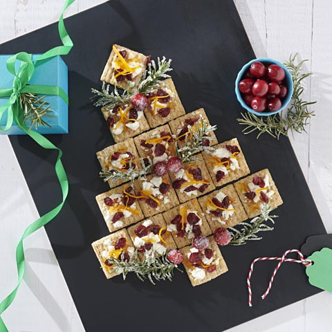 TRISCUIT Orange, Cranberry and Goat Cheese Tree Recipe