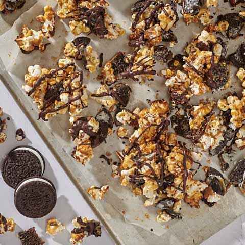 Gluten Free OREO-Caramel Popcorn with Chocolate Drizzle Recipe
