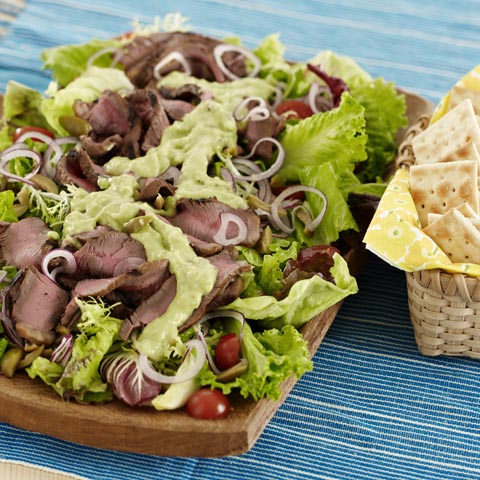 Grilled Steak Salad with Creamy Avocado Dressing Recipe