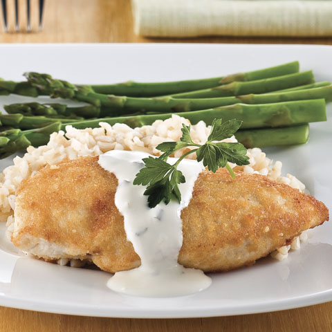 Parmesan-Crusted Chicken in Cream Sauce Recipe
